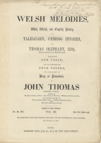 Welsh Melodies for the Voice, Vol. III. London, [1870]. Inscribed The / Marchioness of Downshire / With John Thomas' / Compliments. / St. David's  Day - 1870.