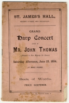 Wordbook for John Thomas's Grand Harp Concert, St. James's Hall, London, 23 June 1894. Royal College of Music, London.