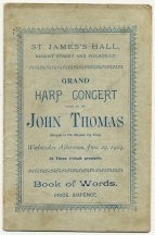 Wordbook for John Thomas's Grand Harp Concert, St. James's Hall, London, 29 June 1904. Royal College of Music, London.