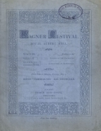 Programmes for five of the concerts in the Wagner Festival at the Royal Albert Hall, London in May 1877.   The 4th Concert included a substantial extract from Siegfried, including Fafner's scene in Act II.  The composer conducted part of each of the six concerts originally scheduled.
