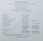 Royal Opera House Covent Garden, 24 October 1963, cast for Petrushka.