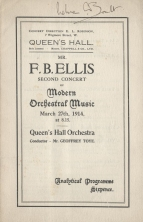 Programme of the first performance of A London Symphony, Queen's Hall, London, 27 March 1914. Royal College of Music, London.